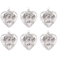 Heart Silver Holiday Ornaments