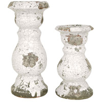 Castleton Antique White Crackle Candlestick