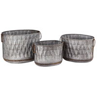Bailey Antique Galvanized Outdoor Planters, Oval