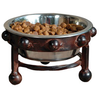 Mission Montana Rustic/Silver Pet Feeder