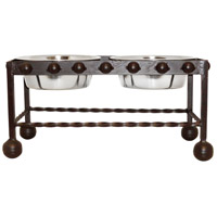 Mission Rustic/Silver Pet Feeder