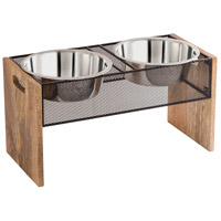 Pomeroy 771309 Farmstead Rustic/Silver/Natural Pet Product, Large Double