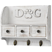 Dog 12 inch Weathered White and Natural Wall Organizer