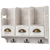 Barkley 19 inch Weathered White and Brass Wall Organizer