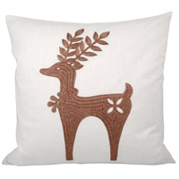 Prancer 20 inch Crema with Nutmeg Pillow Cover