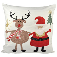 Santa And Friends Snow/Coco/Ribbon Red Pillow