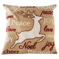 Tidings Sand/Ribbon Red/Snow Holiday Pillow