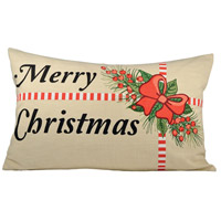 Holiday Package Sand/Black/Ribbon Red Lumbar Pillow