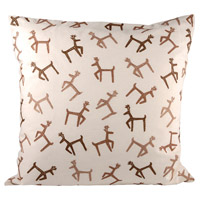 Pomeroy 904479 Dancing Reindeer Crema/Dark Earth/Coco Holiday Pillow