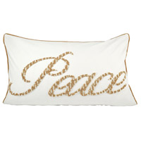 Peace Crema/Silver/Gold Holiday Lumbar Pillow