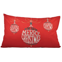 Pomeroy 905070 Very Merry Christmas 26 inch Red Pillow Cover photo thumbnail