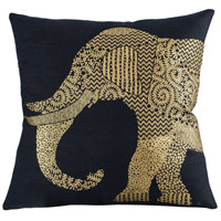 Bali Elephant 20 inch Black with Gold Pillow Cover