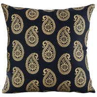 Paisley 20 inch Black with Gold Pillow Cover
