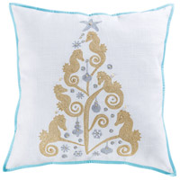 Pomeroy 905759 Coastal Christmas 24 inch Gold with Seafoam and Silver Pillow Cover