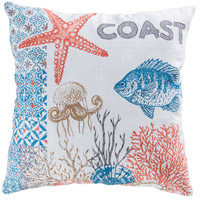 Great Reef 20 X 6 inch Coral with Crema and Turquoise Pillow Cover