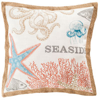 Great Reef 24 X 6 inch Coral with Crema and Turquoise Pillow Cover