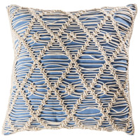 Hannah 20 X 6 inch Blue with Crema Pillow Cover