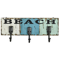 Beach 17 inch Black and Weathered Shores Wall Hook