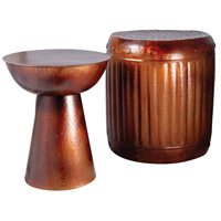 Truffle 20 inch French Antique Copper Outdoor Barrel Stool, and Table
