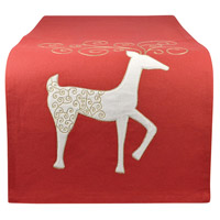 Enchanted Ribbon Red/Snow Table Runner