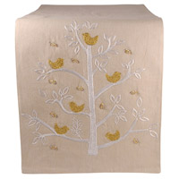 Holiday Partridge Sand/Gold/Silver Table Runner
