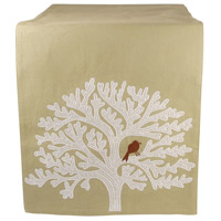 Lockwood Smoked Pearl/Crema/Ribbon Red Table Runner