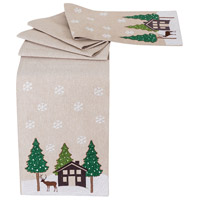 Winterland Evergreen and Sand Table Runner