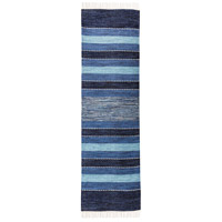Santos 94 X 28 inch Blue/Soft Denim/Crema Rug