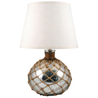 Cassieo 21 inch Antique Silver and Jute Table Lamp Portable Light, Small