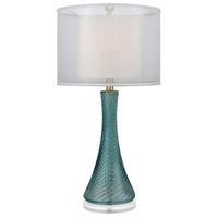 Fiona 28 inch 100 watt Shear Pearl and Smoked Azure Table Lamp Portable Light