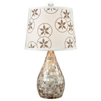 Pomeroy 981210 Ondine 21 inch 100 watt Crema and Mother Of Pearl Mosaic Table Lamp Portable Light
