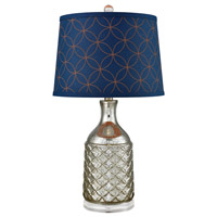 Indigo 25 inch 100 watt Antique Silver and Navy Table Lamp Portable Light