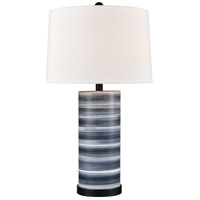 Santos 27 inch 100 watt Blue with Black Table Lamp Portable Light