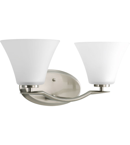 Progress P2005-09WB Bravo 2 Light 17 inch Brushed Nickel Bath Light Wall Light in Bulbs Included, Etched photo