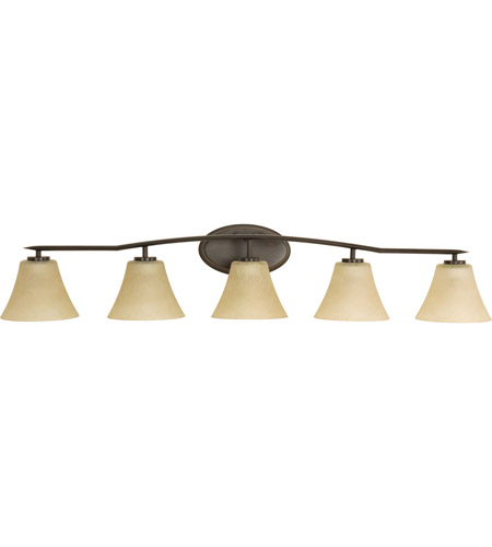 Progress P2016-20 Bravo 5 Light 46 inch Antique Bronze Bath Vanity Wall Light in Bulbs Not Included, Etched Umber Linen Glass photo
