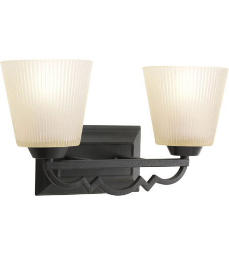 Black Bath Vanity Lights : Progress P2023-80 Meeting Street 2 Light 16 inch Forged Black Bath Vanity Wall Light