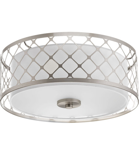Superior Progress P2331 0930K9 Mingle LED 14 Inch Brushed Nickel Flush Mount Ceiling  Light, Summer Linen, Etched Parchment Glass