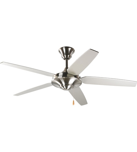 Progress P2530 09 AirPro 54 Inch Brushed Nickel Ceiling Fan In  Silver/Natural Cherry