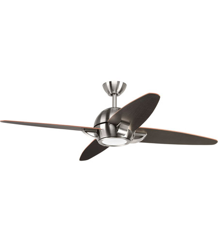 Progress P2542-0930K Soar 54 inch Brushed Nickel with Black Blades Ceiling Fan photo thumbnail
