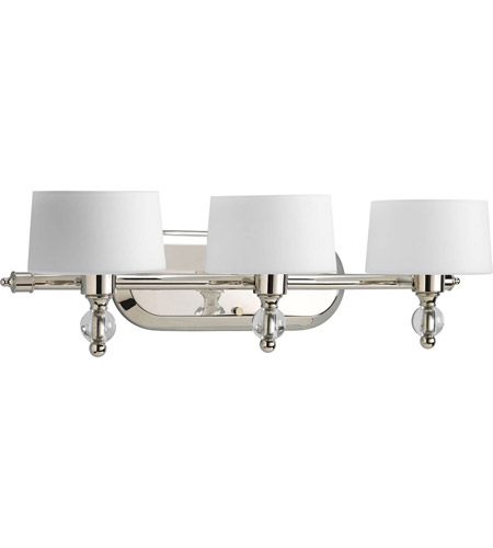 Bathroom Vanity Lights With Clear Glass Shades progress p2927-104wb fortune 3 light 23 inch polished nickel bath