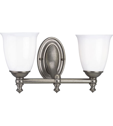 Progress Lighting Delta Victorian 2 Light Bath Vanity in Aged Pewter P3028-03 photo