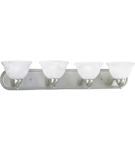 36 Vanity Light Brushed Nickel : Progress P3156-09EBWB Avalon 4 Light 36 inch Brushed Nickel Bath Vanity Wall Light