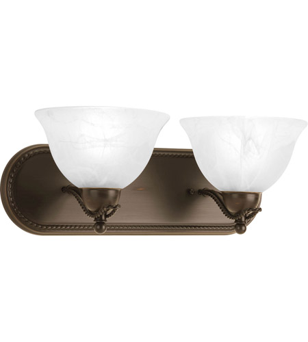 Progress P3267-20 Avalon 2 Light 18 inch Antique Bronze Bath Vanity Wall Light in Alabaster Glass photo