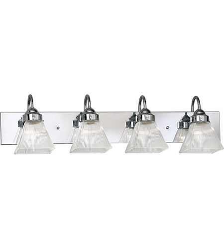 Progress Lighting Square Prismatic Glass 4 Light Bath Vanity in Polished Chrome P3323-15 photo