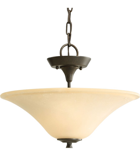 Progress P3440-77 Cantata 2 Light 16 inch Forged Bronze Semi-Flush Mount Ceiling Light in Seeded Topaz Glass photo