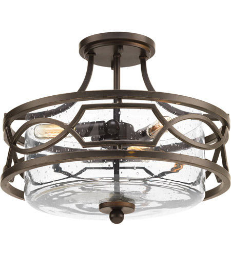 Progress P350050 020 Soiree 3 Light 15 Inch Antique Bronze Semi Flush Convertible Ceiling Design Series