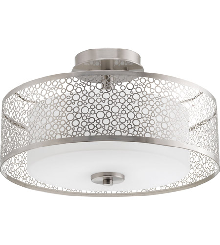 progress p356509 mingle 2 light 16 inch brushed nickel semiflush ceiling light in etched spotted white glass