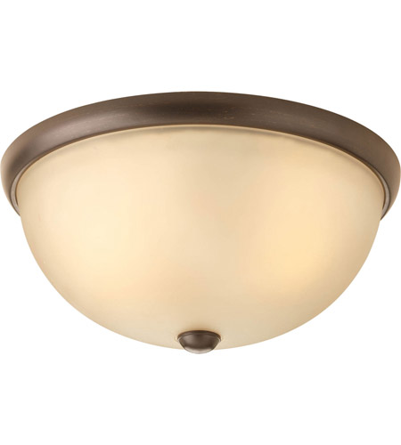 Progress P3651-20WB Random 2 Light 14 inch Antique Bronze Close-to-Ceiling Ceiling Light in Light Umber Etched Glass photo thumbnail