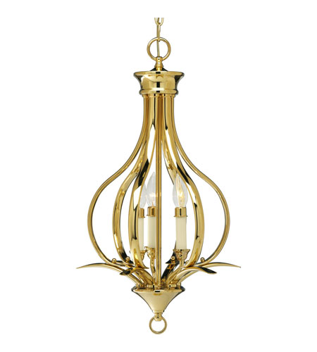 Progress P3807-10 Trinity 3 Light 14 inch Polished Brass Hall & Foyer Ceiling Light photo