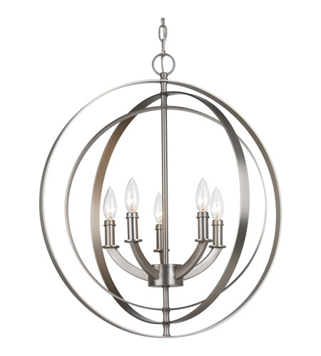 Progress P3841 126 Equinox 5 Light 22 Inch Burnished Silver Chandelier  Ceiling Light